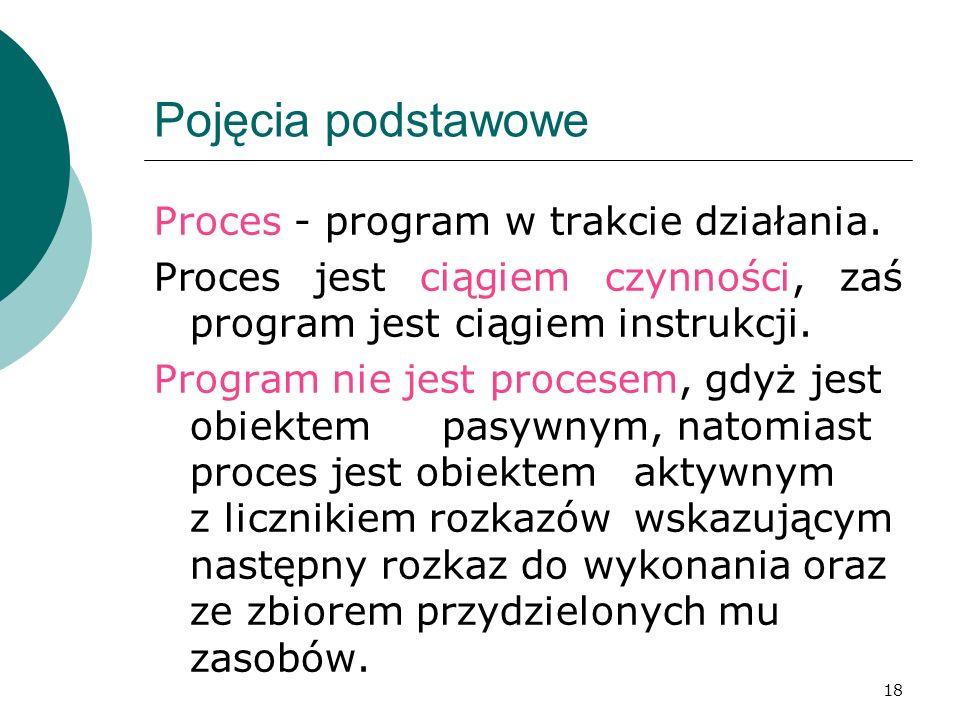 18 Pojęcia podstawowe Proces - program w trakcie działania. Proces jest ciągiem czynności, zaś program jest ciągiem instrukcji. Program nie jest proce