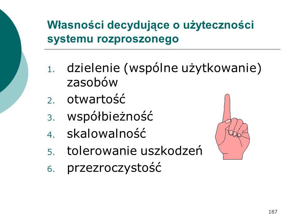 187 Własności decydujące o użyteczności systemu rozproszonego 1. dzielenie (wspólne użytkowanie) zasobów 2. otwartość 3. współbieżność 4. skalowalność