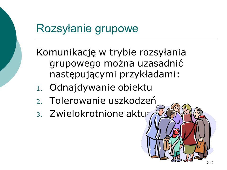 212 Rozsyłanie grupowe Komunikację w trybie rozsyłania grupowego można uzasadnić następującymi przykładami: 1. Odnajdywanie obiektu 2. Tolerowanie usz