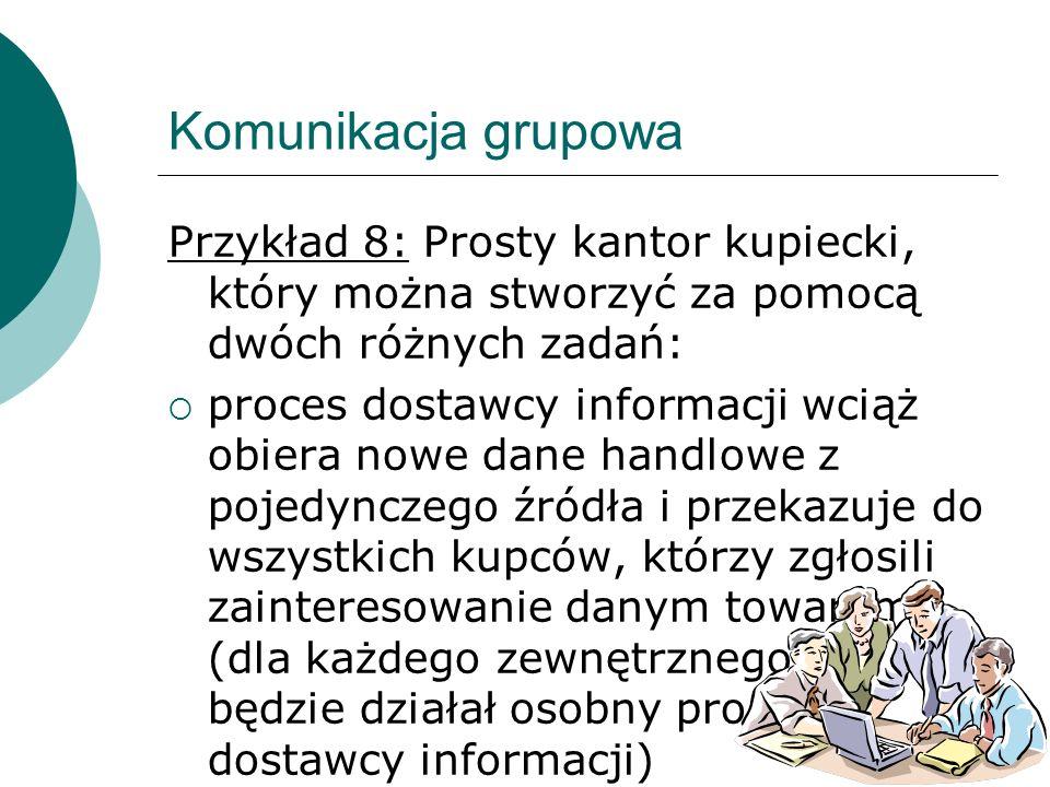 213 Komunikacja grupowa Przykład 8: Prosty kantor kupiecki, który można stworzyć za pomocą dwóch różnych zadań: proces dostawcy informacji wciąż obier