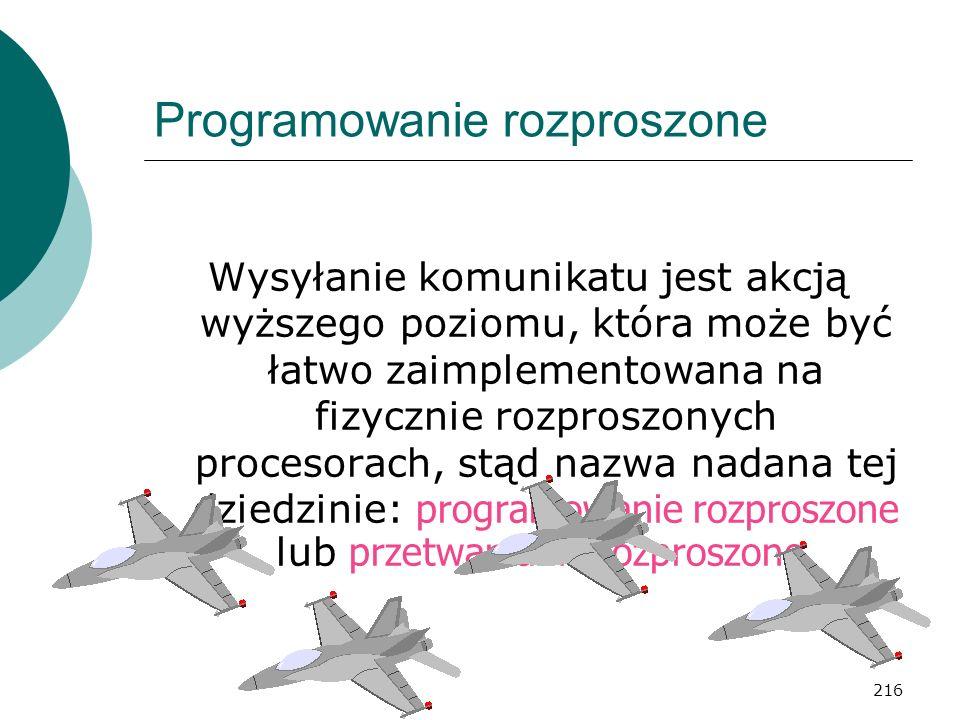 216 Programowanie rozproszone Wysyłanie komunikatu jest akcją wyższego poziomu, która może być łatwo zaimplementowana na fizycznie rozproszonych proce