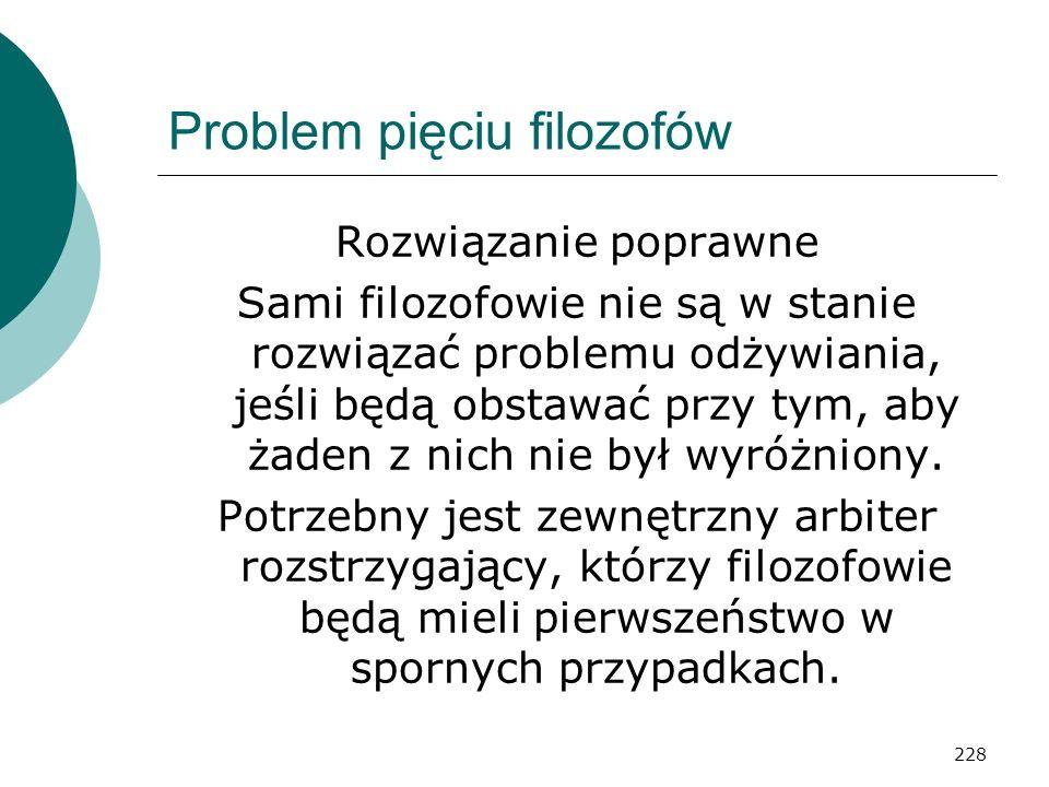 228 Problem pięciu filozofów Rozwiązanie poprawne Sami filozofowie nie są w stanie rozwiązać problemu odżywiania, jeśli będą obstawać przy tym, aby ża