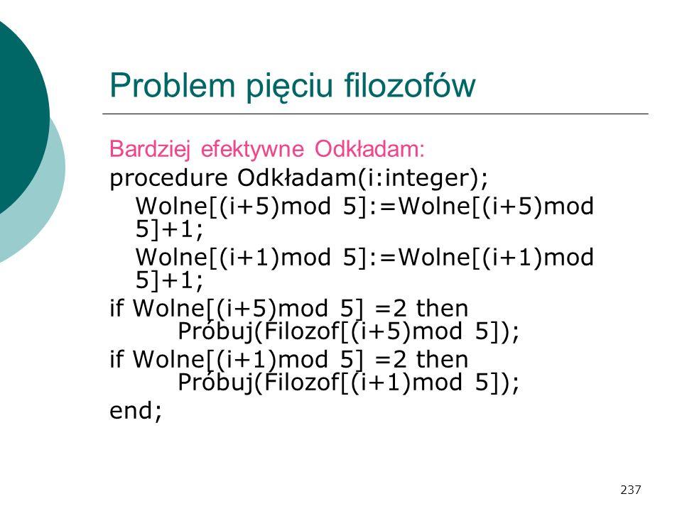 237 Problem pięciu filozofów Bardziej efektywne Odkładam: procedure Odkładam(i:integer); Wolne[(i+5)mod 5]:=Wolne[(i+5)mod 5]+1; Wolne[(i+1)mod 5]:=Wo