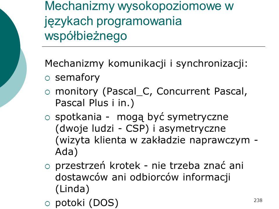 238 Mechanizmy wysokopoziomowe w językach programowania współbieżnego Mechanizmy komunikacji i synchronizacji: semafory monitory (Pascal_C, Concurrent