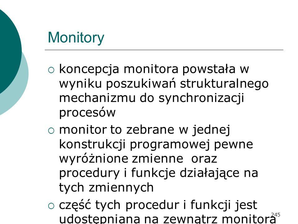 245 Monitory koncepcja monitora powstała w wyniku poszukiwań strukturalnego mechanizmu do synchronizacji procesów monitor to zebrane w jednej konstruk