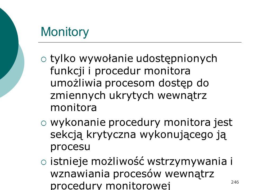 246 Monitory tylko wywołanie udostępnionych funkcji i procedur monitora umożliwia procesom dostęp do zmiennych ukrytych wewnątrz monitora wykonanie pr