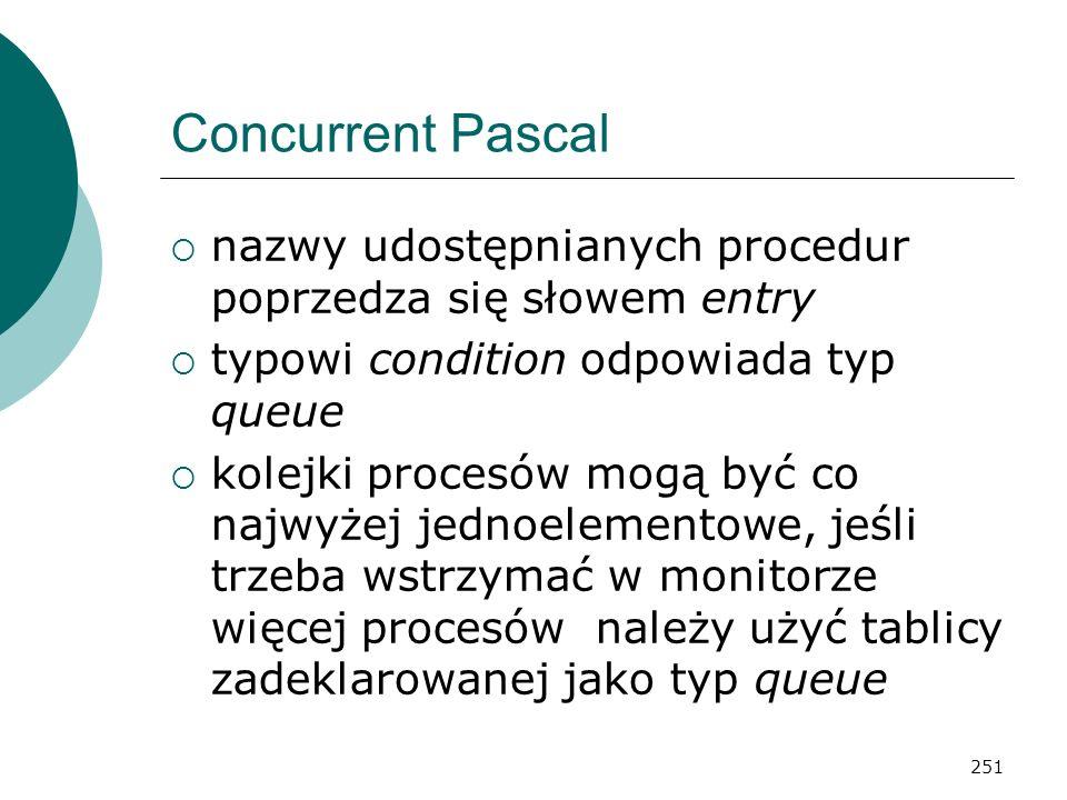 251 Concurrent Pascal nazwy udostępnianych procedur poprzedza się słowem entry typowi condition odpowiada typ queue kolejki procesów mogą być co najwy