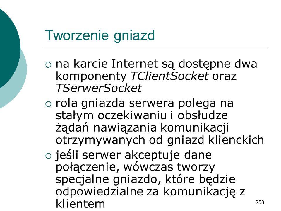 253 Tworzenie gniazd na karcie Internet są dostępne dwa komponenty TClientSocket oraz TSerwerSocket rola gniazda serwera polega na stałym oczekiwaniu