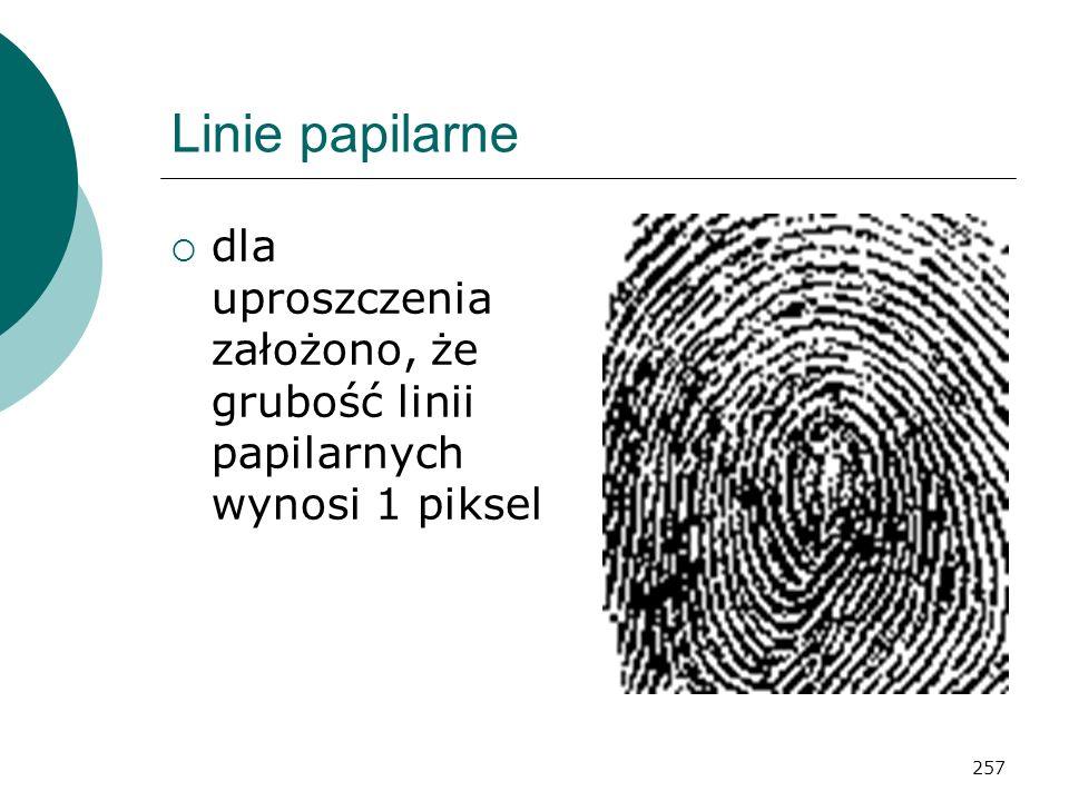 257 Linie papilarne dla uproszczenia założono, że grubość linii papilarnych wynosi 1 piksel