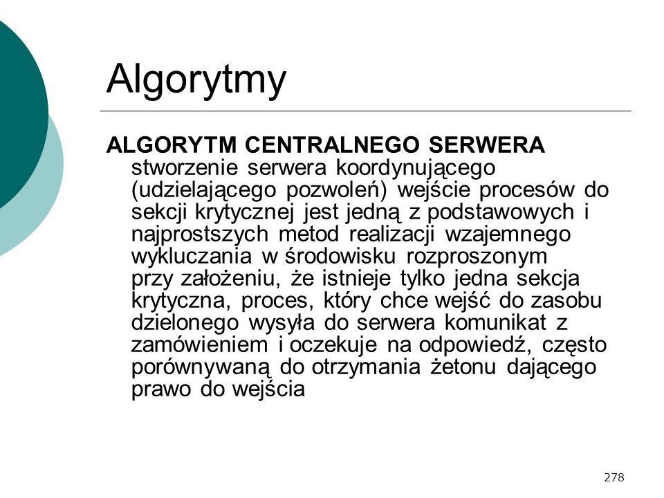 278 Algorytmy ALGORYTM CENTRALNEGO SERWERA stworzenie serwera koordynującego (udzielającego pozwoleń) wejście procesów do sekcji krytycznej jest jedną