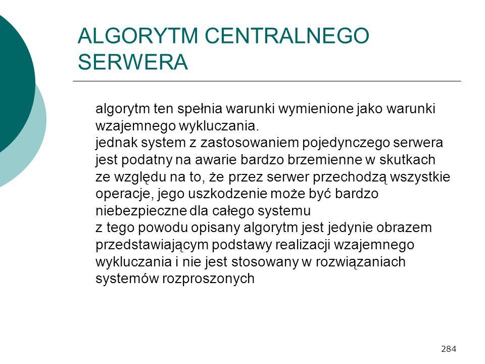 284 ALGORYTM CENTRALNEGO SERWERA algorytm ten spełnia warunki wymienione jako warunki wzajemnego wykluczania. jednak system z zastosowaniem pojedyncze