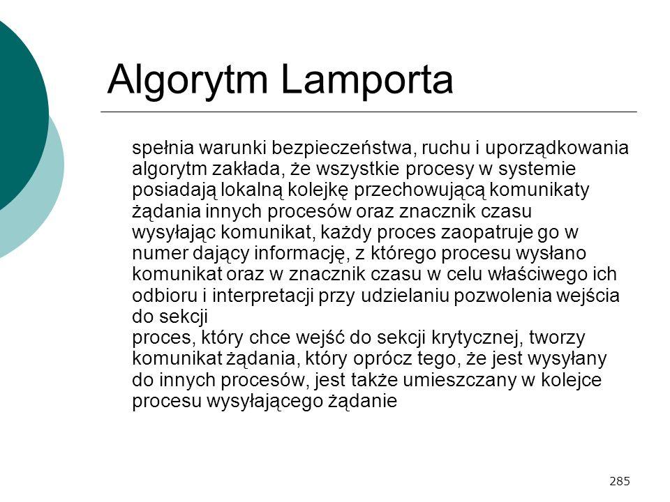 285 Algorytm Lamporta spełnia warunki bezpieczeństwa, ruchu i uporządkowania algorytm zakłada, że wszystkie procesy w systemie posiadają lokalną kolej