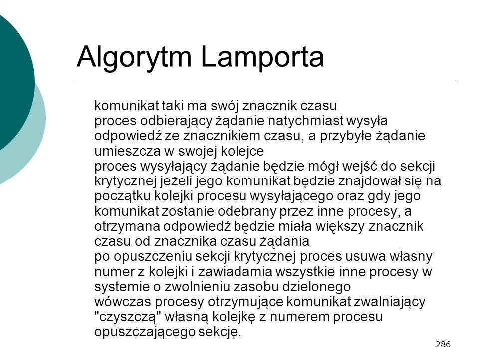 286 Algorytm Lamporta komunikat taki ma swój znacznik czasu proces odbierający żądanie natychmiast wysyła odpowiedź ze znacznikiem czasu, a przybyłe ż