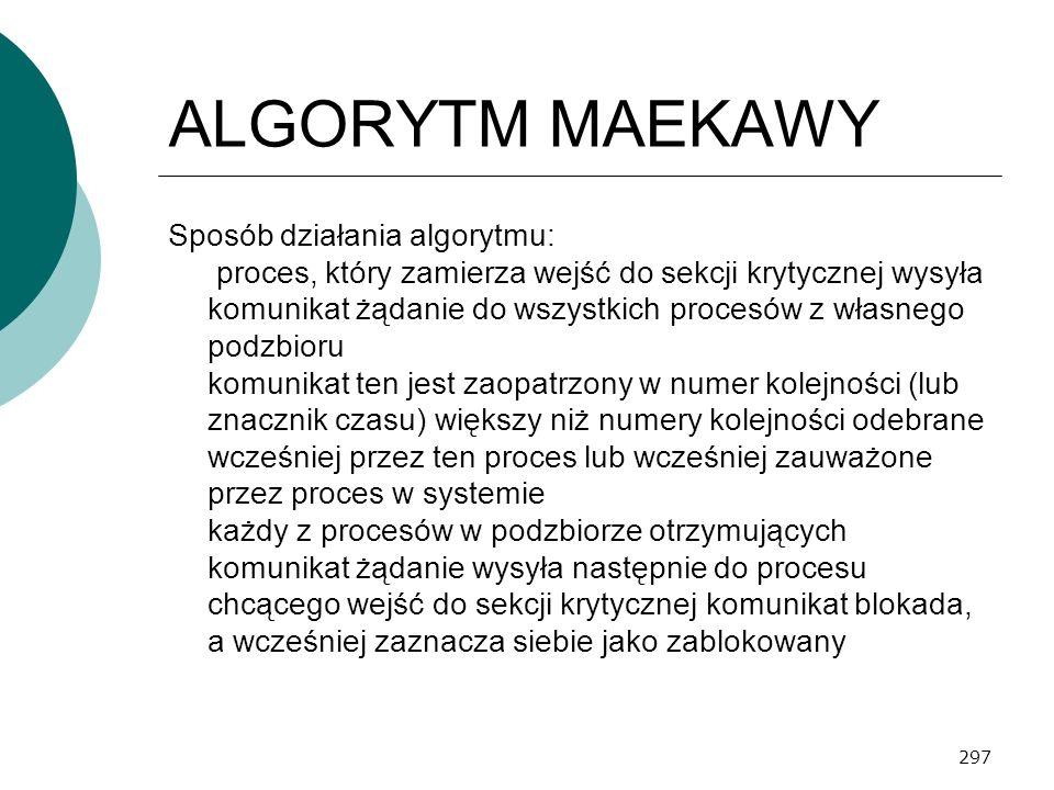 297 ALGORYTM MAEKAWY Sposób działania algorytmu: proces, który zamierza wejść do sekcji krytycznej wysyła komunikat żądanie do wszystkich procesów z w