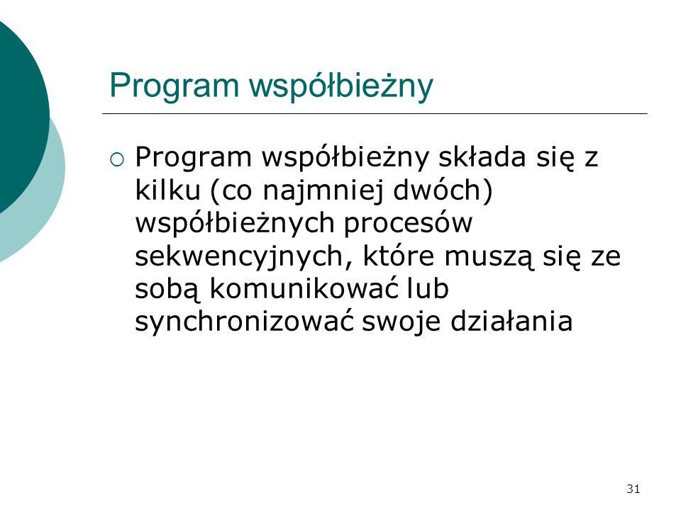 31 Program współbieżny Program współbieżny składa się z kilku (co najmniej dwóch) współbieżnych procesów sekwencyjnych, które muszą się ze sobą komuni