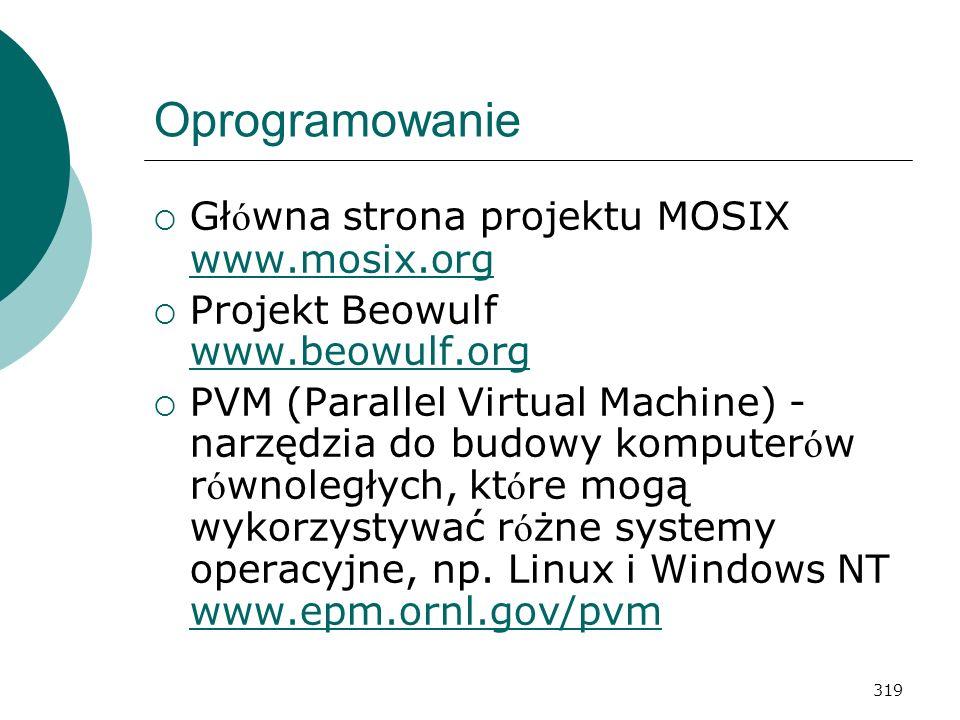 319 Oprogramowanie Gł ó wna strona projektu MOSIX www.mosix.org www.mosix.org Projekt Beowulf www.beowulf.org www.beowulf.org PVM (Parallel Virtual Ma