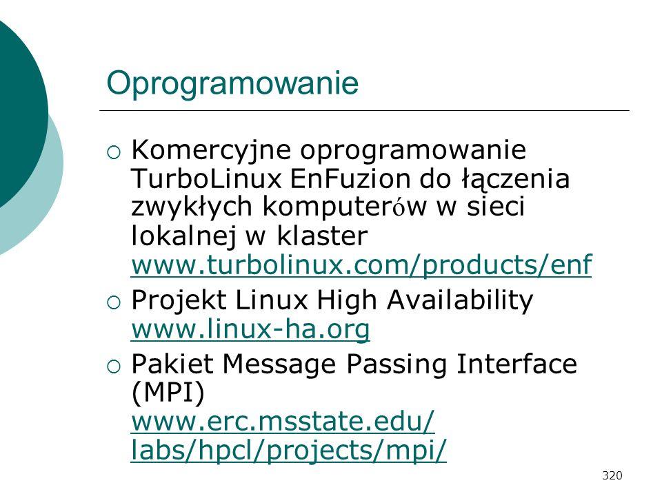 320 Oprogramowanie Komercyjne oprogramowanie TurboLinux EnFuzion do łączenia zwykłych komputer ó w w sieci lokalnej w klaster www.turbolinux.com/produ