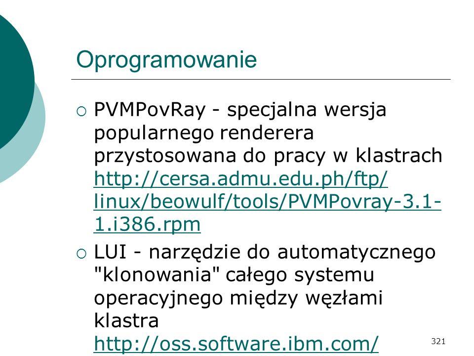 321 Oprogramowanie PVMPovRay - specjalna wersja popularnego renderera przystosowana do pracy w klastrach http://cersa.admu.edu.ph/ftp/ linux/beowulf/t