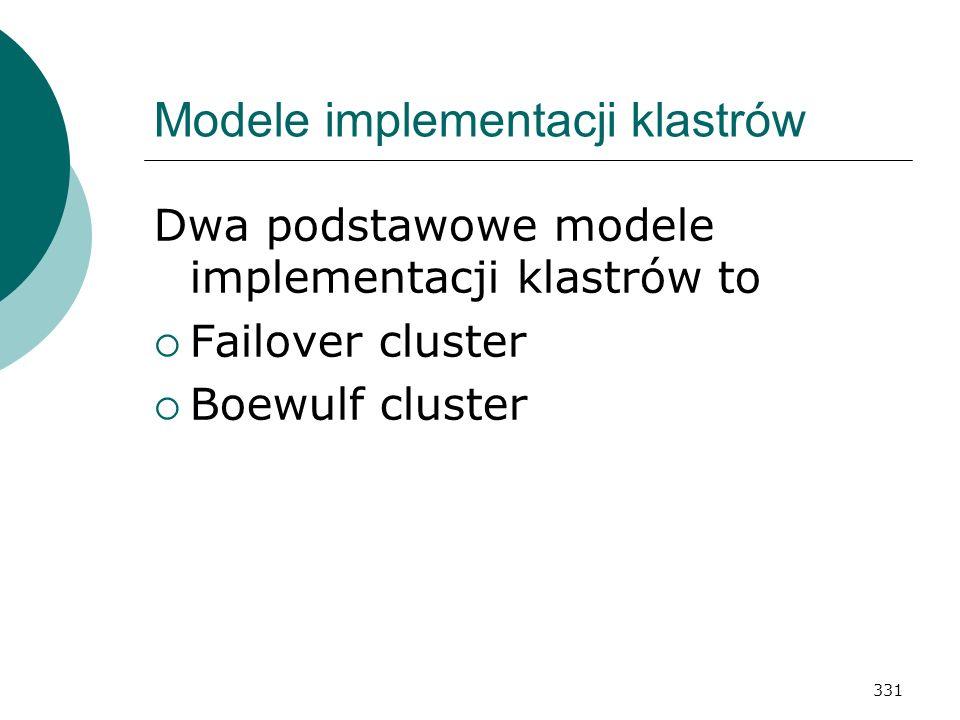 331 Modele implementacji klastrów Dwa podstawowe modele implementacji klastrów to Failover cluster Boewulf cluster