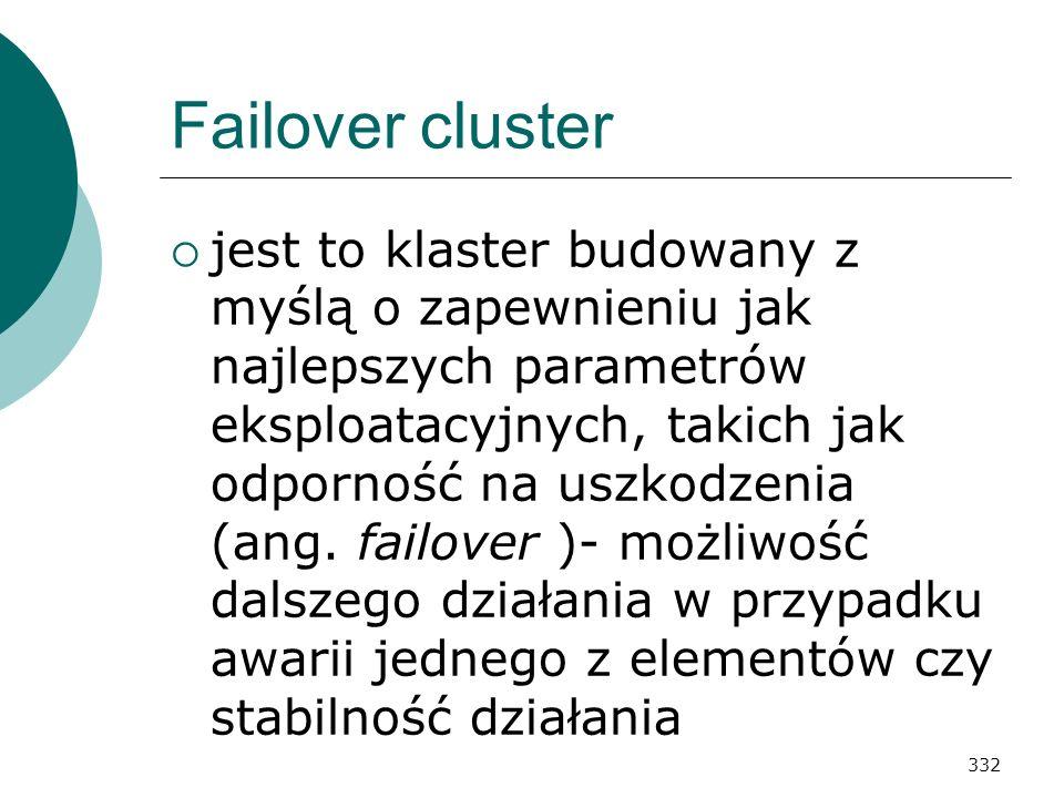 332 Failover cluster jest to klaster budowany z myślą o zapewnieniu jak najlepszych parametrów eksploatacyjnych, takich jak odporność na uszkodzenia (