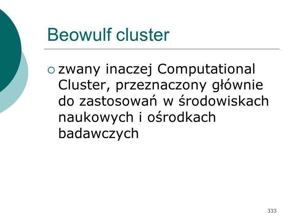 333 Beowulf cluster zwany inaczej Computational Cluster, przeznaczony głównie do zastosowań w środowiskach naukowych i ośrodkach badawczych