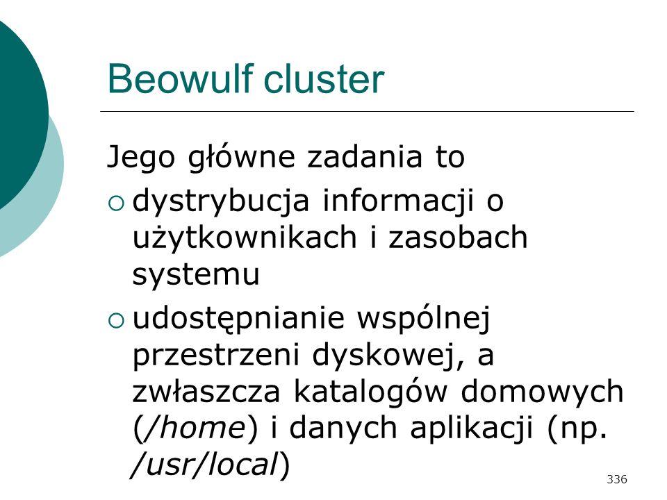 336 Beowulf cluster Jego główne zadania to dystrybucja informacji o użytkownikach i zasobach systemu udostępnianie wspólnej przestrzeni dyskowej, a zw