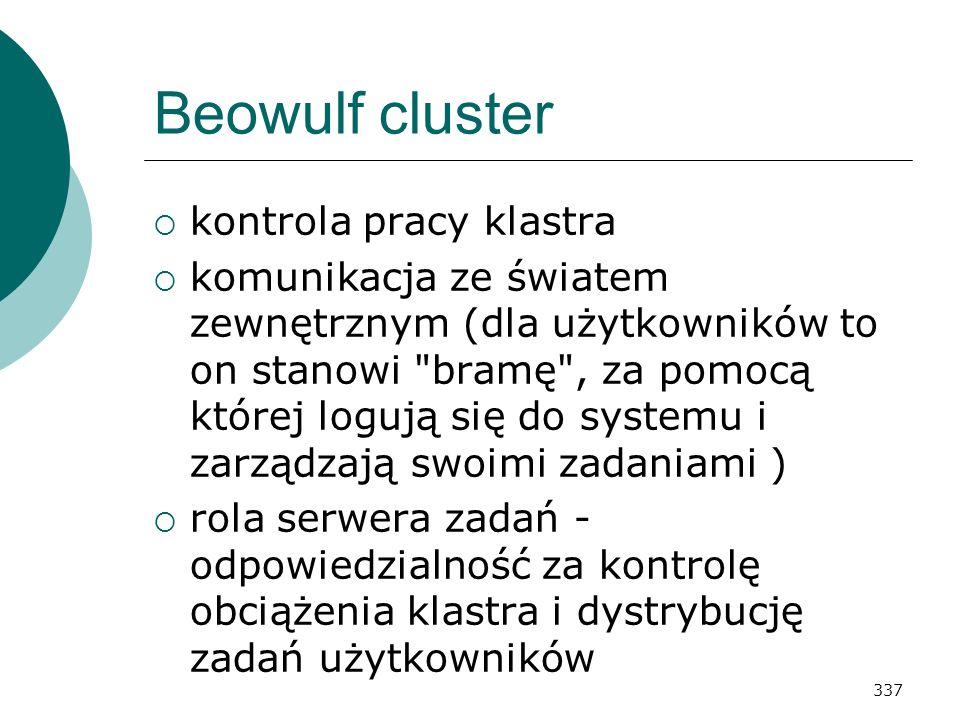 337 Beowulf cluster kontrola pracy klastra komunikacja ze światem zewnętrznym (dla użytkowników to on stanowi