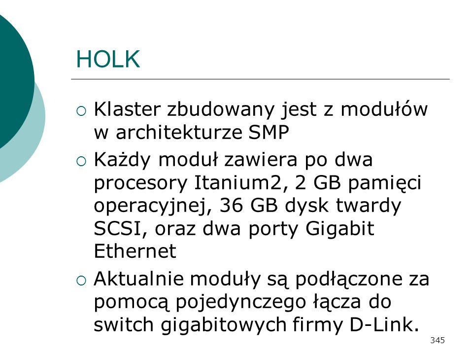 345 HOLK Klaster zbudowany jest z modułów w architekturze SMP Każdy moduł zawiera po dwa procesory Itanium2, 2 GB pamięci operacyjnej, 36 GB dysk twar