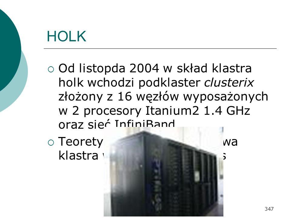 347 HOLK Od listopda 2004 w skład klastra holk wchodzi podklaster clusterix złożony z 16 węzłów wyposażonych w 2 procesory Itanium2 1.4 GHz oraz sieć