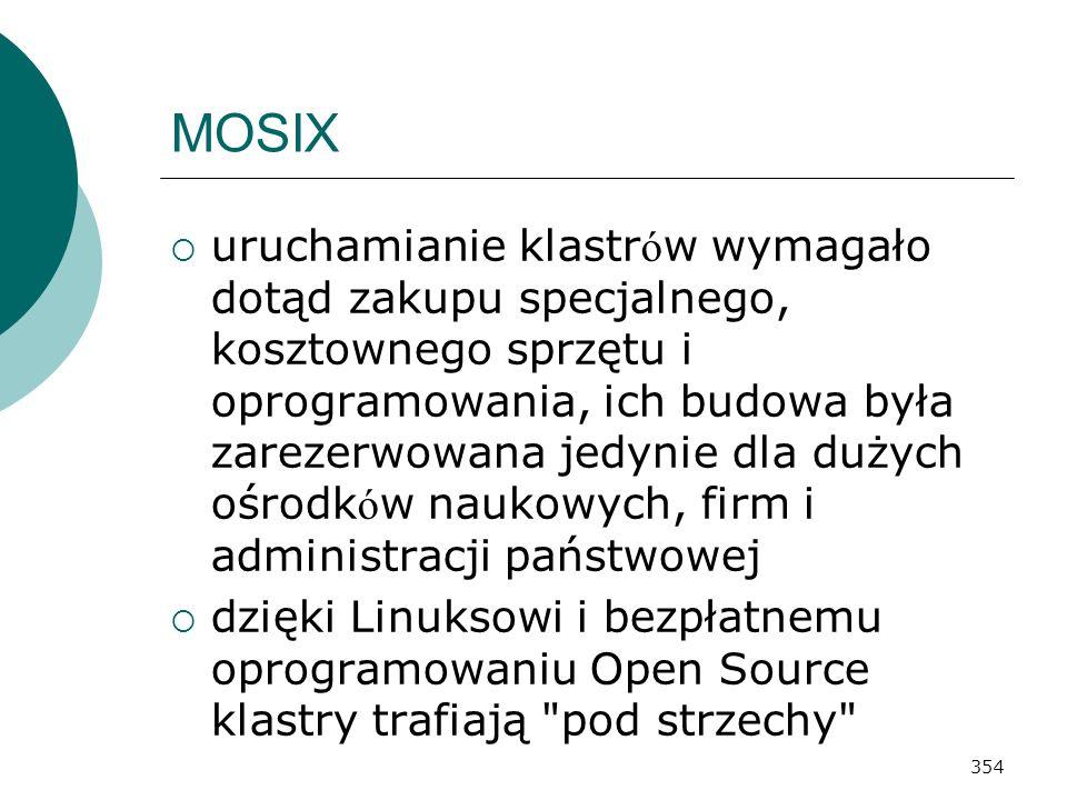 354 MOSIX uruchamianie klastr ó w wymagało dotąd zakupu specjalnego, kosztownego sprzętu i oprogramowania, ich budowa była zarezerwowana jedynie dla d