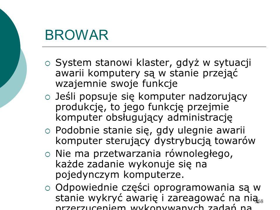 368 BROWAR System stanowi klaster, gdyż w sytuacji awarii komputery są w stanie przejąć wzajemnie swoje funkcje Jeśli popsuje się komputer nadzorujący