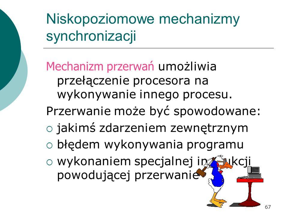 67 Niskopoziomowe mechanizmy synchronizacji Mechanizm przerwań umożliwia przełączenie procesora na wykonywanie innego procesu. Przerwanie może być spo