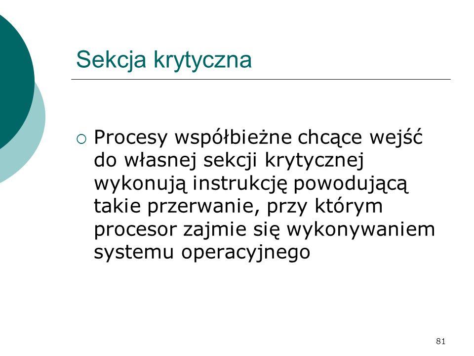 81 Sekcja krytyczna Procesy współbieżne chcące wejść do własnej sekcji krytycznej wykonują instrukcję powodującą takie przerwanie, przy którym proceso