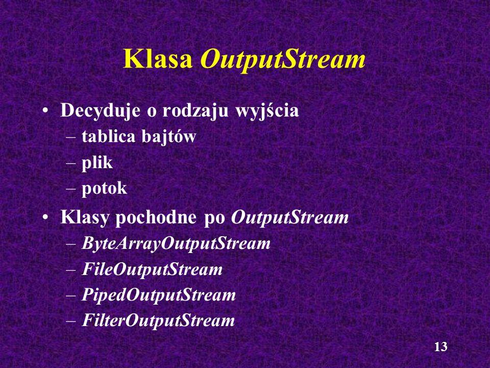 13 Klasa OutputStream Decyduje o rodzaju wyjścia –tablica bajtów –plik –potok Klasy pochodne po OutputStream –ByteArrayOutputStream –FileOutputStream