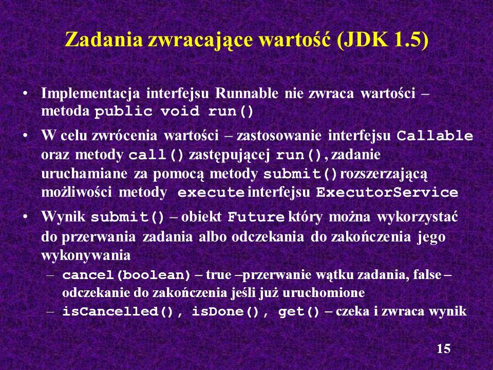 15 Zadania zwracające wartość (JDK 1.5) Implementacja interfejsu Runnable nie zwraca wartości – metoda public void run() W celu zwrócenia wartości – z