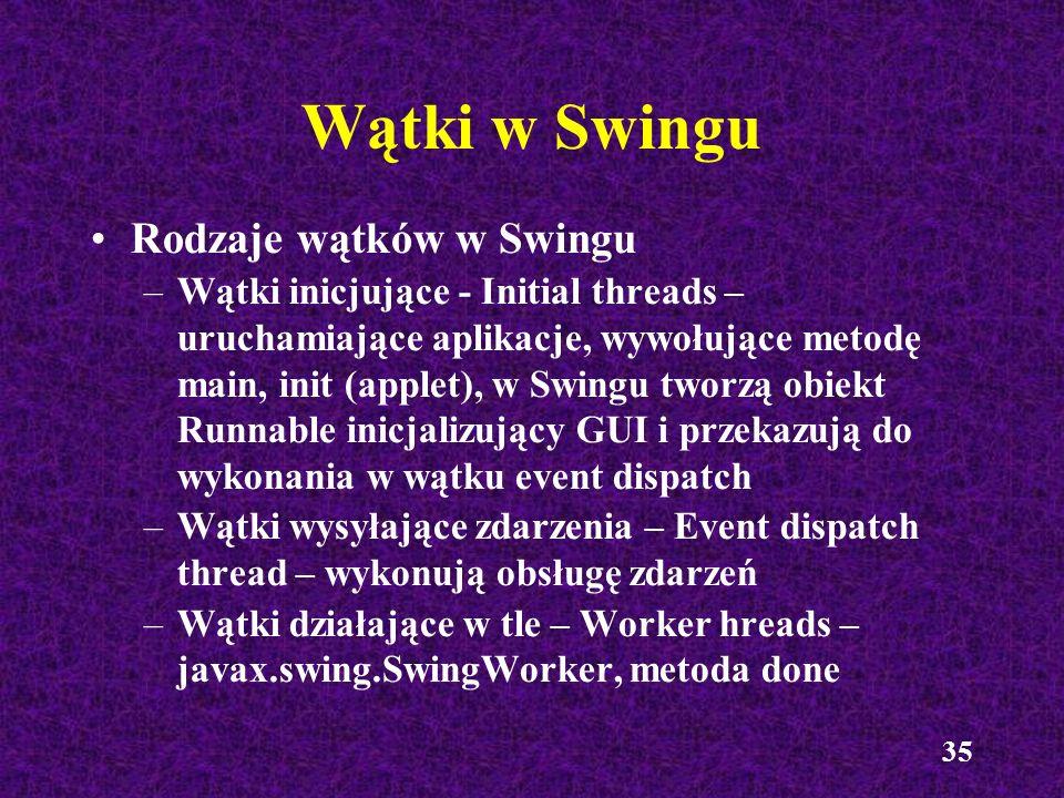 35 Wątki w Swingu Rodzaje wątków w Swingu –Wątki inicjujące - Initial threads – uruchamiające aplikacje, wywołujące metodę main, init (applet), w Swin