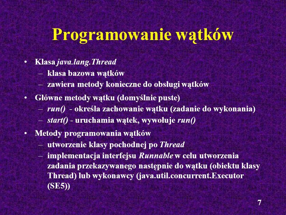 38 Wątki w Swingu public class Etykietka{ public static void main(String[] args){ JFrame f = new JFrame(); JLabel et = new JLabel(); f.add(et); f.setDefaultCloseOperation(JFrame.EXIT_ON_CLOSE); TimeUnit.SECONDS.sleep(3); SwingUtilities.invokeLater(new Runnable(){ public void run(){ et.setText(Witam po trzech sekundach!): } }); }