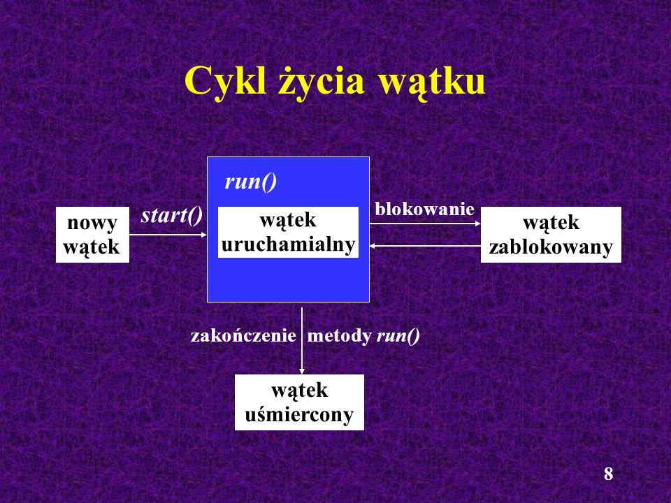 8 Cykl życia wątku nowy wątek wątek zablokowany start() run() wątek uśmiercony wątek uruchamialny zakończenie metody run() blokowanie