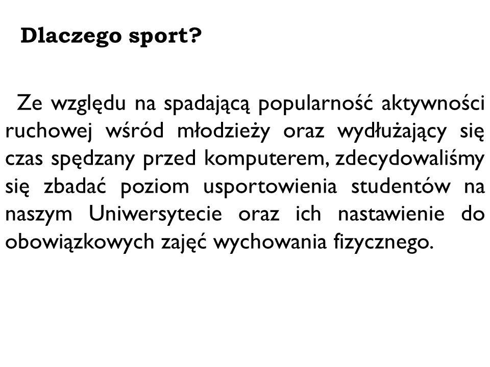 Techniki badawcze 1.Wywiad swobodny ukierunkowany – uzyskanie punktu widzenia usportowionych studentów, pogłębienie wiedzy z dziedziny sportu – baza decydująca o dalszych badaniach; 2.