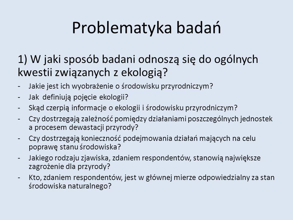 Problematyka badań 1) W jaki sposób badani odnoszą się do ogólnych kwestii związanych z ekologią? - Jakie jest ich wyobrażenie o środowisku przyrodnic