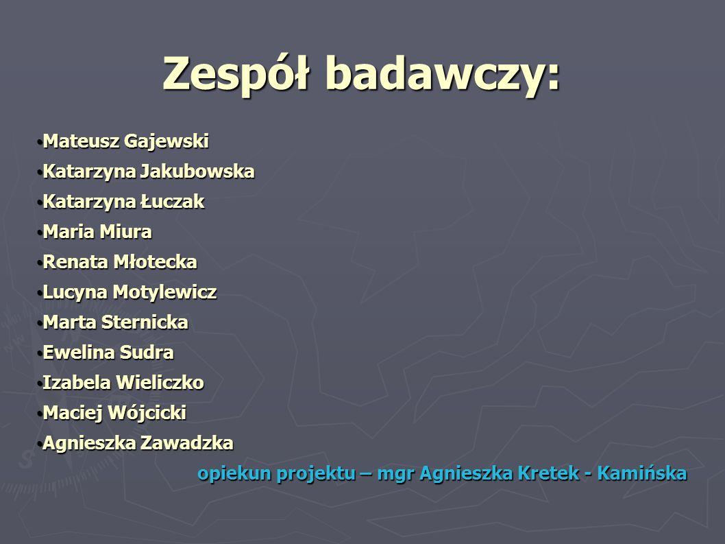 Zespół badawczy: Mateusz Gajewski Mateusz Gajewski Katarzyna Jakubowska Katarzyna Jakubowska Katarzyna Łuczak Katarzyna Łuczak Maria Miura Maria Miura