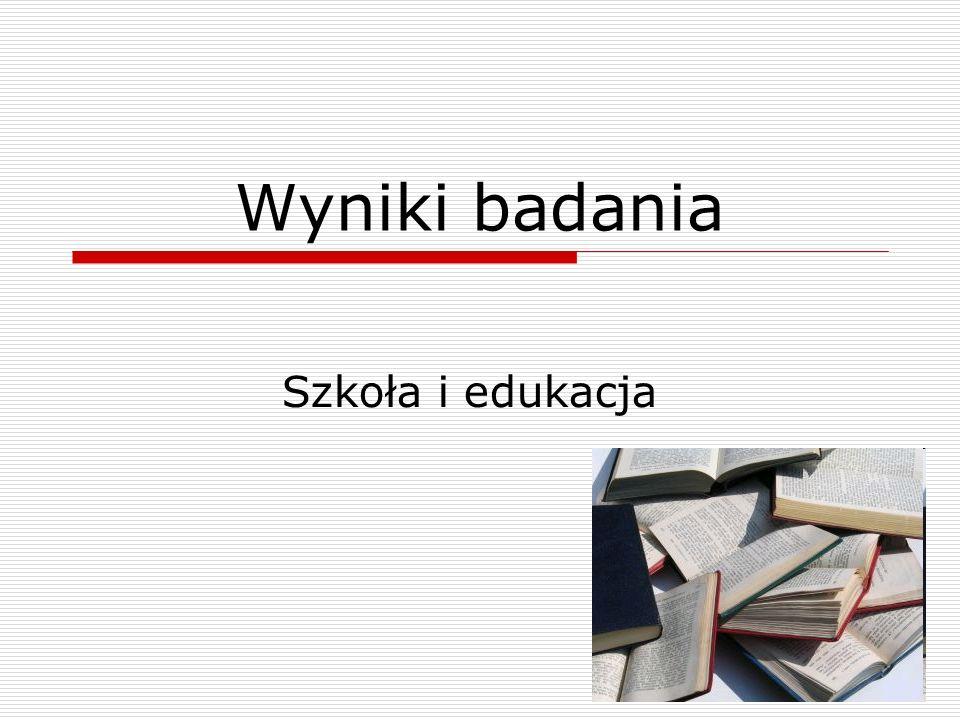 Wyniki badania Szkoła i edukacja