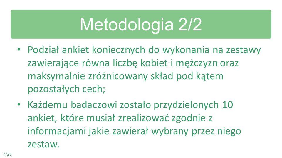 Metodologia 2/2 Podział ankiet koniecznych do wykonania na zestawy zawierające równa liczbę kobiet i mężczyzn oraz maksymalnie zróżnicowany skład pod
