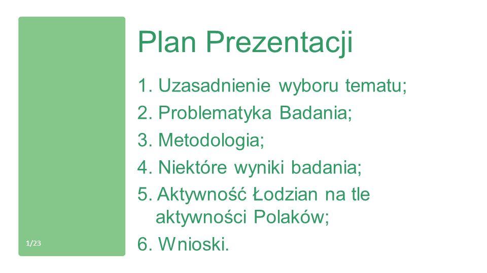 Plan Prezentacji 1. Uzasadnienie wyboru tematu; 2. Problematyka Badania; 3. Metodologia; 4. Niektóre wyniki badania; 5. Aktywność Łodzian na tle aktyw
