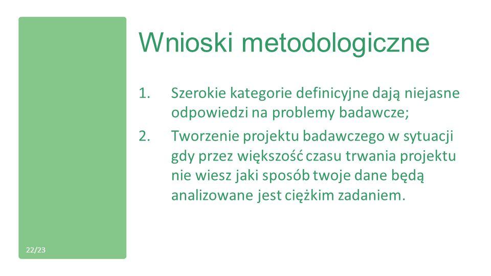 Wnioski metodologiczne 1.Szerokie kategorie definicyjne dają niejasne odpowiedzi na problemy badawcze; 2.Tworzenie projektu badawczego w sytuacji gdy