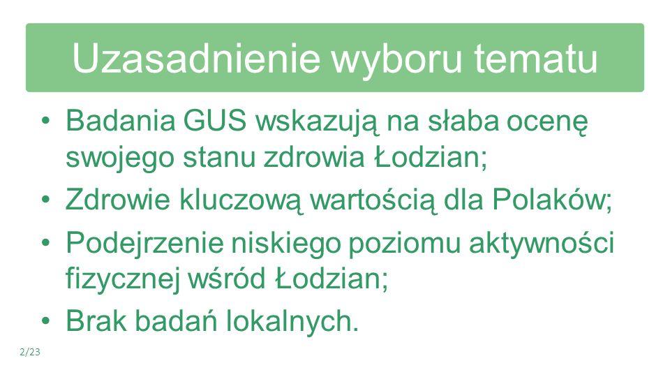 Uzasadnienie wyboru tematu Badania GUS wskazują na słaba ocenę swojego stanu zdrowia Łodzian; Zdrowie kluczową wartością dla Polaków; Podejrzenie nisk