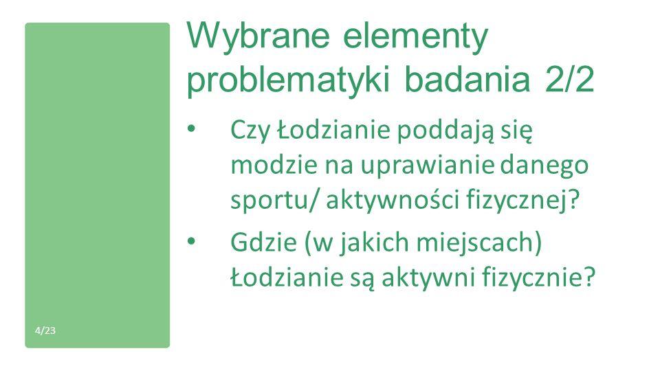 Kompletna problematyka badania Jakie są motywy podejmowania aktywności fizycznej przez Łodzian.