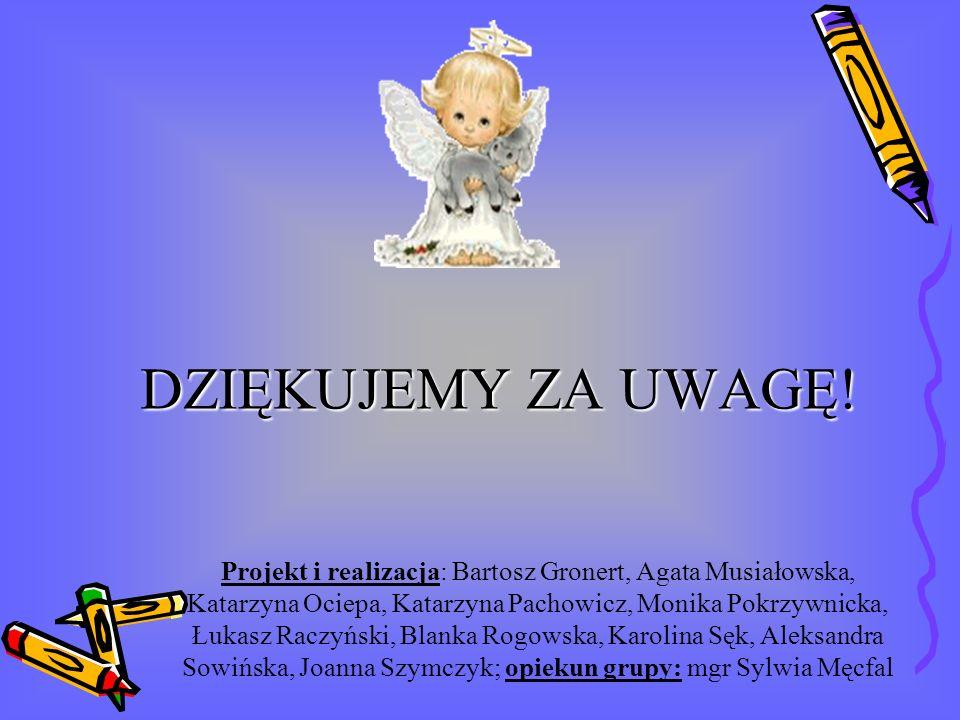 DZIĘKUJEMY ZA UWAGĘ! Projekt i realizacja: Bartosz Gronert, Agata Musiałowska, Katarzyna Ociepa, Katarzyna Pachowicz, Monika Pokrzywnicka, Łukasz Racz