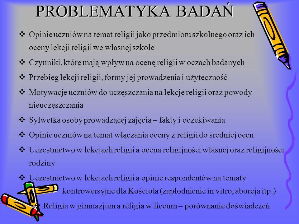PROBLEMATYKA BADAŃ Opinie uczniów na temat religii jako przedmiotu szkolnego oraz ich oceny lekcji religii we własnej szkole Czynniki, które mają wpły