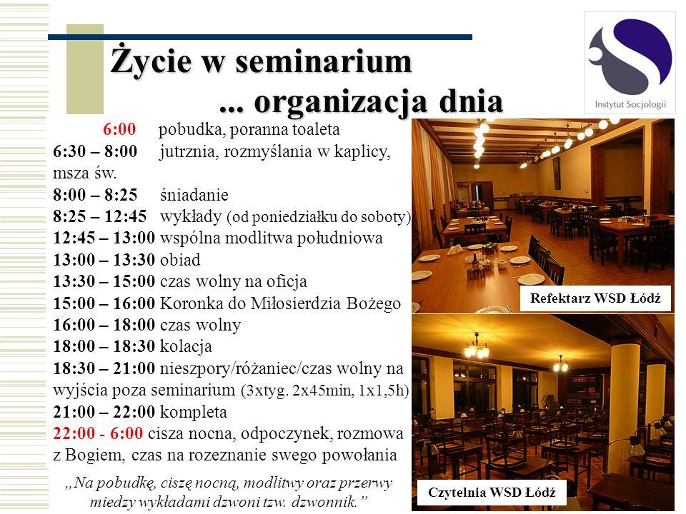 Życie w seminarium 6:00 pobudka, poranna toaleta 6:30 – 8:00 jutrznia, rozmyślania w kaplicy, msza św. 8:00 – 8:25 śniadanie 8:25 – 12:45 wykłady (od